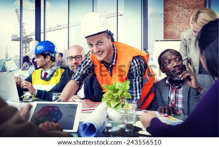 Construction Worker Professional Occupation Discussing Planning Working Creativity - stock photo