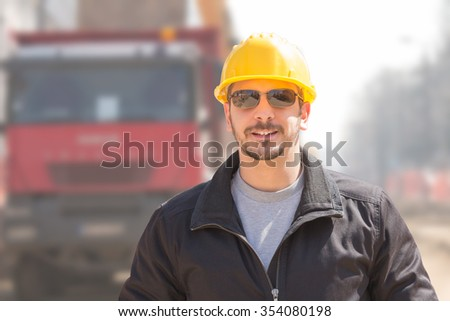 Construction worker ready for a hard job outdoors.
