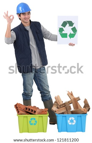 Construction worker recycling - stock photo