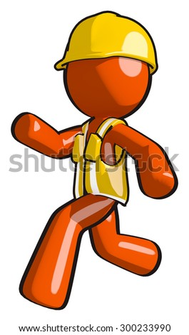 Construction worker running and motivated