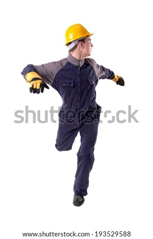 Construction worker running from danger isolated in white - stock photo