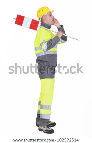 Construction worker screaming isolated on white background - stock photo