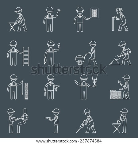 Construction worker service profession silhouettes icons outline set isolated  illustration - stock photo