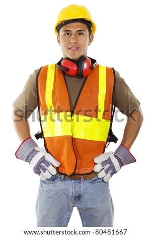 construction worker standing confident isolated on white background - stock photo