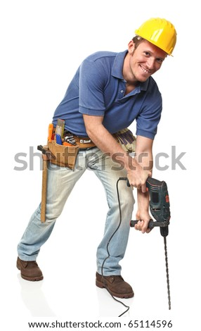 construction worker using a big drill isolated on white background - stock photo