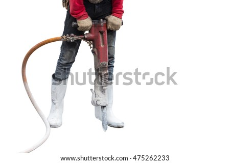 Construction worker using concrete drilling machine in construction site. Isolated on white background. Saved with clipping path