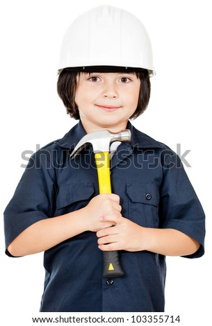Construction worker with a helmet and hammer - isolated over white