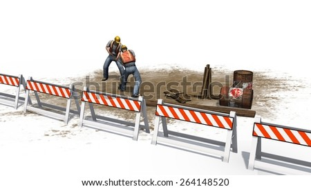Construction worker with helmet, safety vest and paddle behind roadblock isolated on white background - stock photo