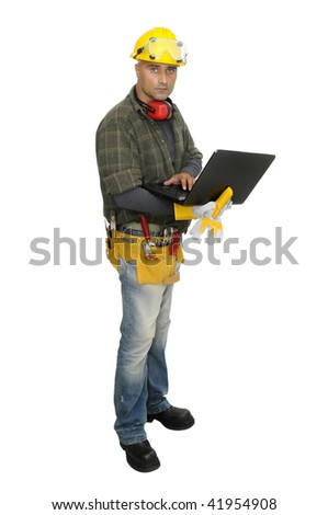 Construction worker with laptop isolated in white - stock photo