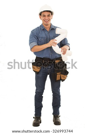 construction worker with plumbing pipes