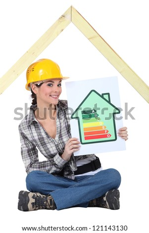 Construction worker with rating sign - stock photo