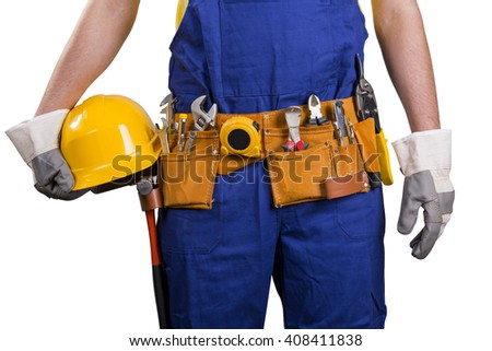 construction worker with tool belt isolated on white - stock photo