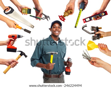 Construction worker with tools isolated white background. - stock photo