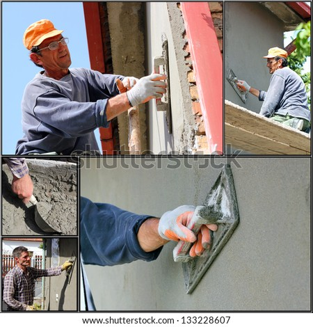 Construction Workers At Work. Collage of photographs showing builders at facade plastering works.