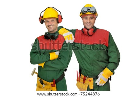 Construction workers team isolated in white - stock photo