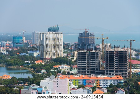 constructions of new hotels in Vungtau, Vietnam - stock photo