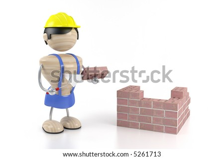 constructor and brick - stock photo