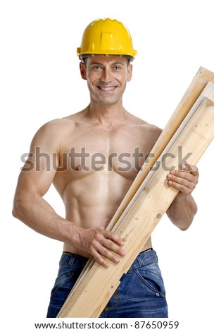 Constructor holding a wood boards on white background.