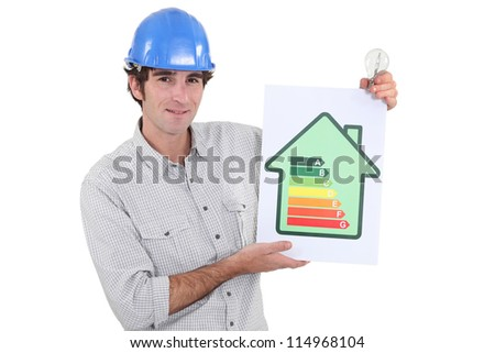 Constructor holding energy rating sign - stock photo