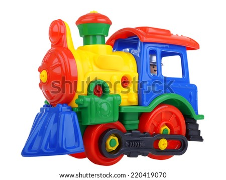 Constructor toy train isolated on white background - stock photo