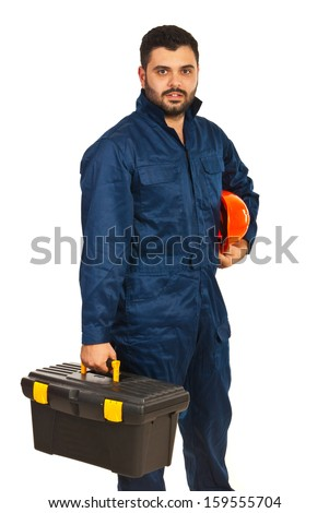 Constructor worker holding box utensils isolated on white background - stock photo