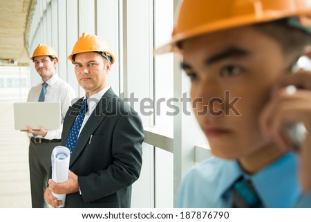 Constructors at work - stock photo