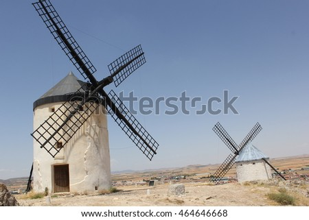 Consuegra, Spain, a landscape with windmill.