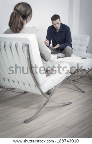 Consult at the psychologist or Psychiatrist - stock photo