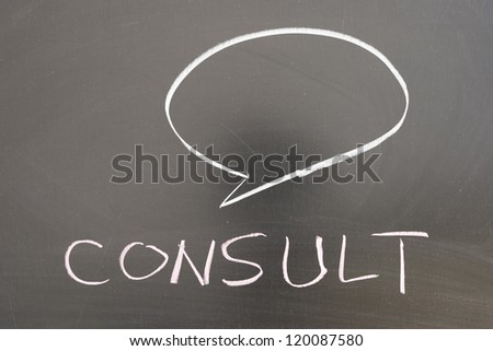 Consult concept drawing on the chalkboard - stock photo