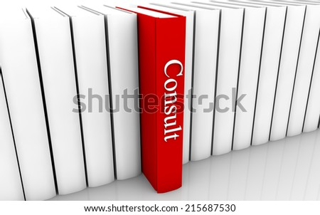 Consult red book standing out from a row of book - stock photo