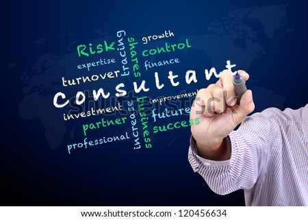 Consultant concept ideas and other related words, Hand with pen write on whiteboard - stock photo