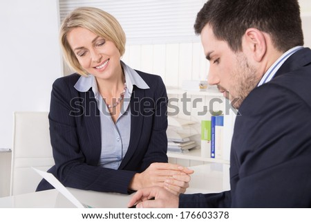 Consultation at office between consultant and customer. - stock photo