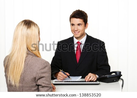 consultation. consultation and discussion with consultants and customers. - stock photo