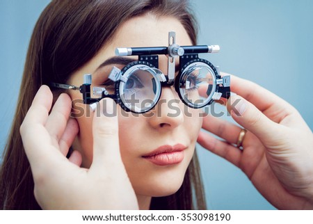 Consultation with an ophthalmologist. Medical equipment. Coreometry - stock photo