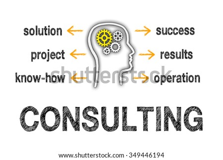 Consulting Business Concept - head with cogwheels and text on white background - stock photo