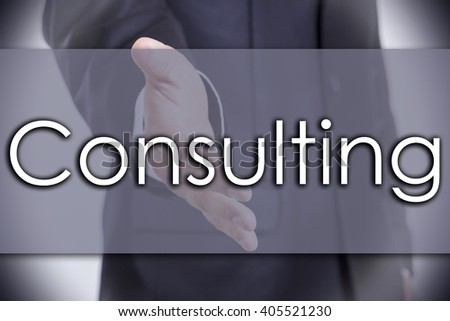 Consulting - business concept with text - horizontal image