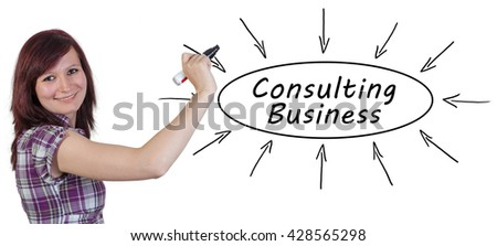 Consulting Business - young businesswoman drawing information concept on whiteboard.  - stock photo