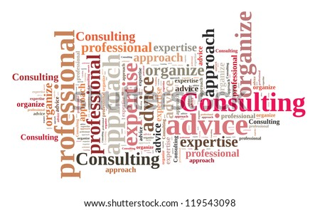 Consulting in word collage - stock photo