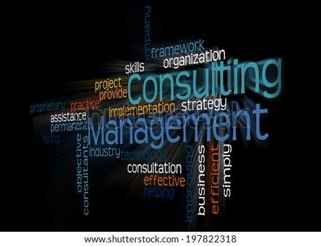 Consulting Management in wordcloud arragement - stock photo