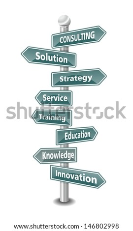 CONSULTING, word cloud designed as a green traffic sign or road signpost - stock photo