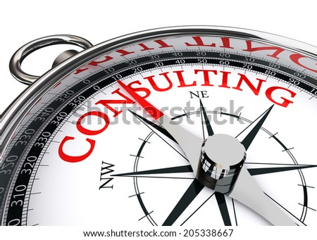 consulting word on compass conceptual image. clipping path included