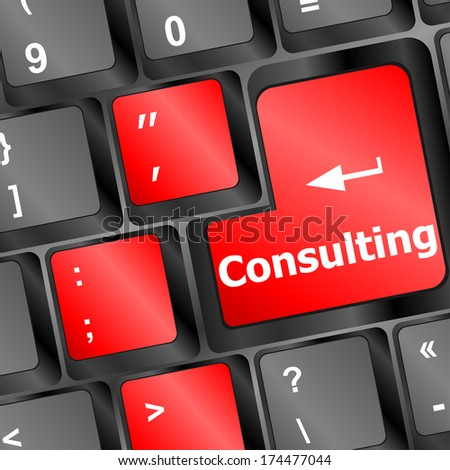 Consulting word on keyboard keys, business concept