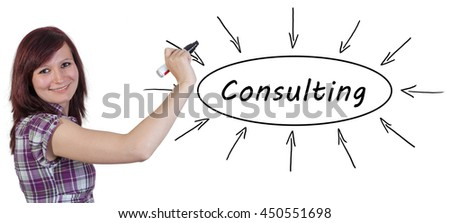 Consulting - young businesswoman drawing information concept on whiteboard.  - stock photo