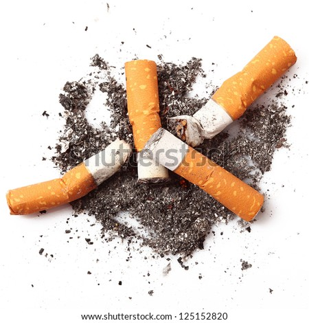 consumed cigarettes in white background - stock photo