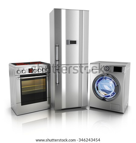 Consumer electronics.Fridge,washer and electric-cooker (done in 3d)  - stock photo