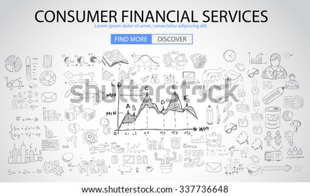 Consumer Financial Services concept with Doodle design style :finding solution, money spending, money investment. Modern style illustration for web banners, brochure and flyers. - stock photo