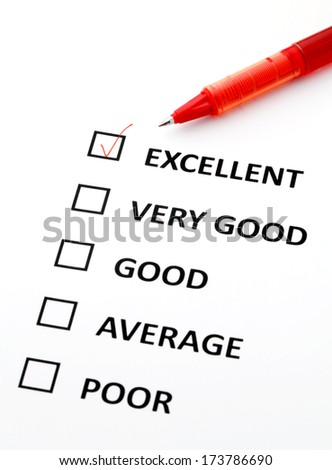 Consumer survey with questionnaire checkbox - stock photo