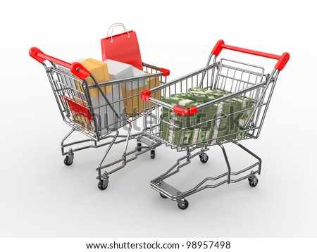 Consumerism. Purchase of goods for money. Shopping cart with boxes and dollars. 3d