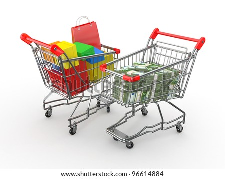 Consumerism. Purchase of goods for money. Shopping cart with boxes and euro. 3d - stock photo