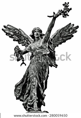 Cont�© Crayons Drawing in Black and White Roman Angel Statue with Olives Branch and Chain in Hands Looking up the Sky on Sandstone Texture